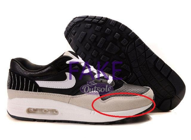 Fake counterfeit neppe Nike Air Max 1 Ben Drury Hold Tight mudguard - Hoe herken ik een neppe, namaak of replica Nike Air Max 1 sneaker?