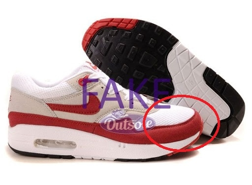 Fake counterfeit neppe Nike Air Max 1 OG Red nose - Hoe herken ik een neppe, namaak of replica Nike Air Max 1 sneaker?