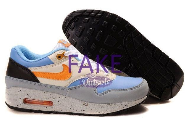Fake counterfeit neppe Nike Air Max 1 Skull Pack Blue 1 - How to spot a fake, counterfeit or replica Nike Air Max 1 sneaker?