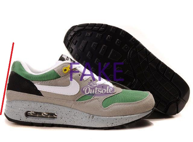 Fake counterfeit neppe Nike Air Max 1 Skull Pack Green heel - ✓ Blog: How to spot a fake, counterfeit or replica Nike Air Max 1 sneaker?