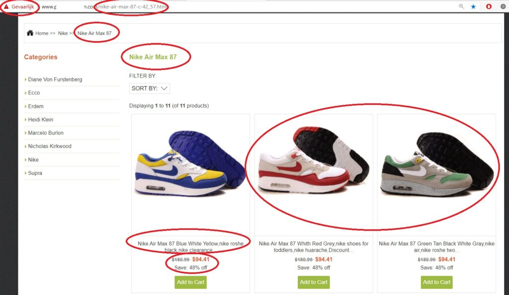 Fake webshop 1024x594 - ✓ Blog: How to spot a fake, counterfeit or replica Nike Air Max 1 sneaker?