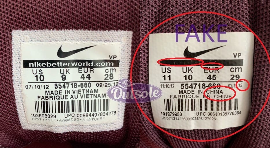 Size label differences fake authentic Nike Air Max 1 EM Burgundy - ✓ Blog: How to spot a fake, counterfeit or replica Nike Air Max 1 sneaker?